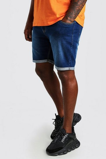 Mid blue blue Plus Size Skinny Fit Denim Shorts