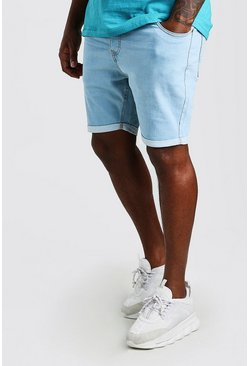 Pale blue Plus Size Skinny Fit Denim Shorts