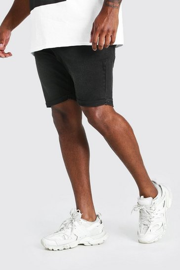 Charcoal grey Plus Size Skinny Fit Denim Shorts