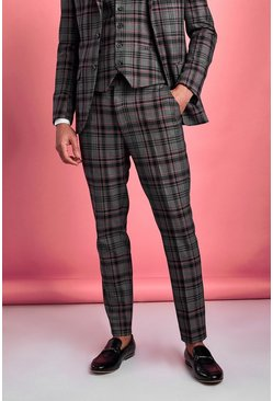 Black Skinny Contrast Check Pants