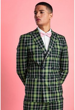Green Skinny Fit Bright Tartan Check Blazer