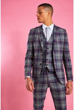 Grey Skinny Purple Check Blazer
