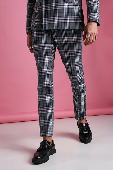 Charcoal grey Skinny Gingham Check Trouser