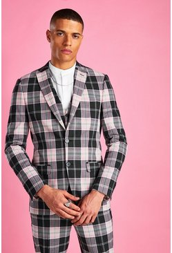 Black Super Skinny Tartan Check Blazer