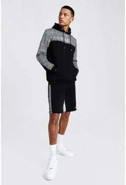 Black Tall Jacquard Man Trainingspak Met Shorts, Tekst En Streep