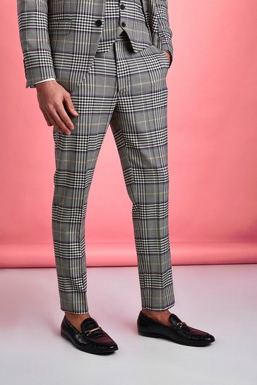 Stone beige Smart Skinny Dogtooth Check Trousers