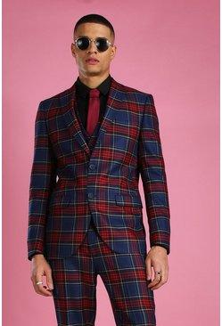 Black Skinny Plaid Check Suit Blazer