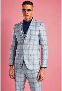 Light grey grey Skinny Prince Of Wales Check Blazer