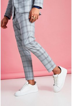 Light grey grey Skinny Prince Of Wales Check Trouser