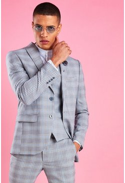 Light blue blue Super Skinny Tartan Check Blazer