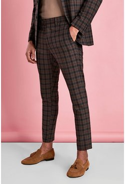 Brown Skinny Mini Check Trousers