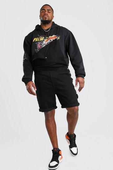 Black Plus Size Short Length Denim Dungaree