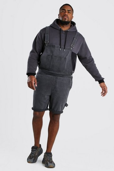 Charcoal grey Plus Size Short Length Denim Dungaree