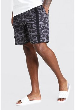 Grey Big And Tall Mid Length Camo Print Swim Short