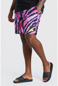 Big And Tall Badeshorts mit Batikmuster, Rosa