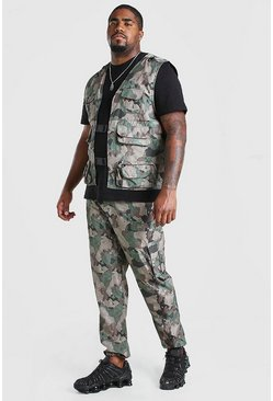 Plus Size Camo Utility Vest And Jogger Set
