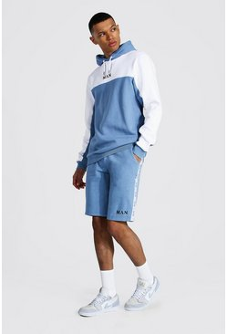 Dusty blue blue Tall Man Tape Colour Block Short Tracksuit