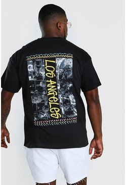 Black Plus Size Los Angeles Back Print T-Shirt