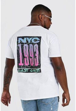 White Plus Size NYC Back Print T-Shirt