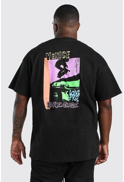 Black Plus Size Venice Back Print T-Shirt