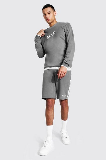 Slate grey Tall Man Roman Short Tracksuit With Tape