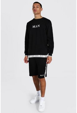 Black Tall Man Roman Short Tracksuit With Tape