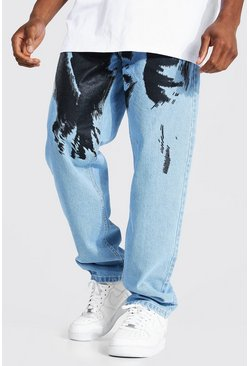 Ice blue Relaxed Fit Cherub Print Jean