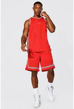 Red Mesh Basketball Short Set