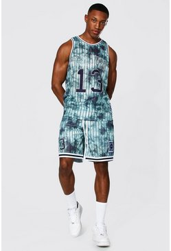 Dark grey grey Worldwide Tie Dye Mesh Basketball Short Set