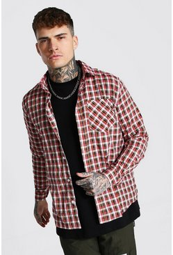 Red Regular Lightweight Check Shirt