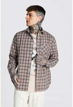 Brown Oversized Lightweight Check Shirt