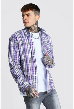 Oversized Lightweight Check Shirt, Purple violett