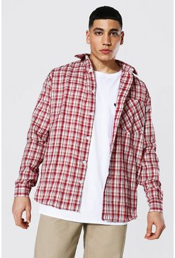 Red Oversized Lightweight Check Shirt