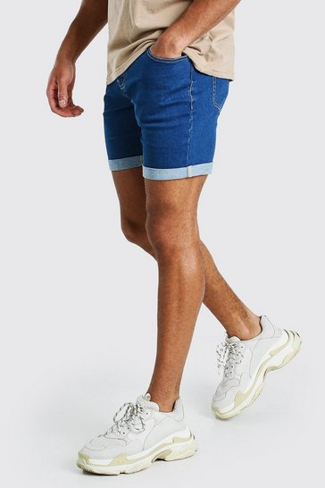 Mid blue blue Skinny Stretch Denim Shorts