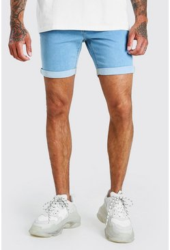 Light blue blue Skinny Stretch Denim Shorts