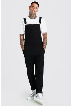 Black Full Length Denim Dungarees