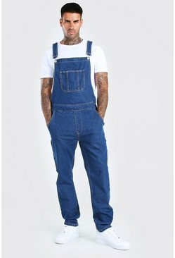 Mid blue blue Full Length Denim Dungarees