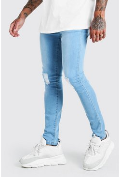 Light blue blue Super Skinny Jeans With Rips