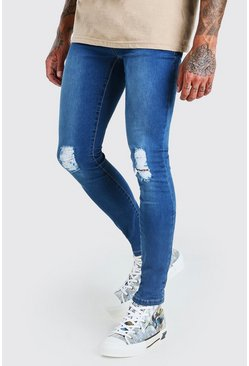 Mid blue Super Skinny Jeans With Rips