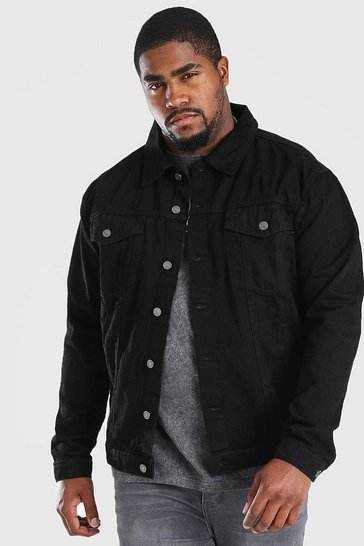 Black Big And Tall Regular Denim Western Jacket