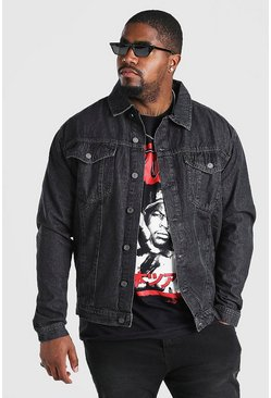Charcoal grey Plus Size Regular Denim Western Jacket