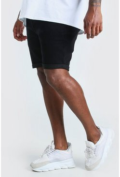 Black Plus Size Skinny Stretch Denim Shorts