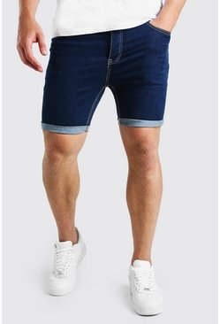 Dark blue blue Plus Size Skinny Stretch Denim Shorts
