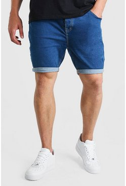 Mid blue blue Plus Size Skinny Stretch Denim Shorts