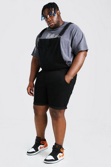 Black Plus Size Short Denim Dungarees
