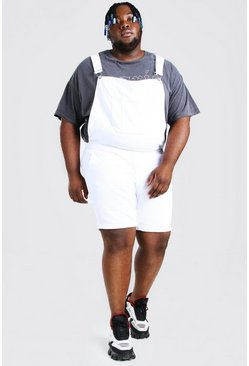 White Plus Size Short Denim Dungarees