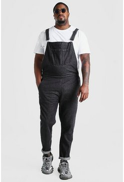 Charcoal grey Big And Tall Long Denim Overalls