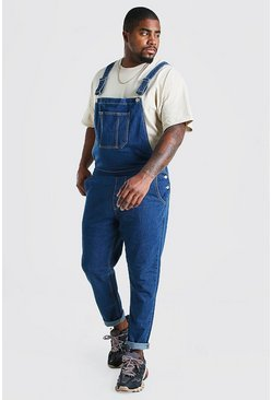 Mid blue blue Plus Size Long Denim Dungarees