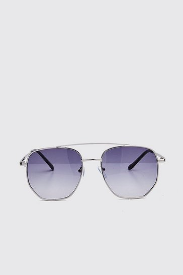 Black Hexagon Top Bar Sunglasses