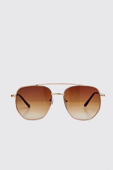 Brown Hexagon Top Bar Sunglasses